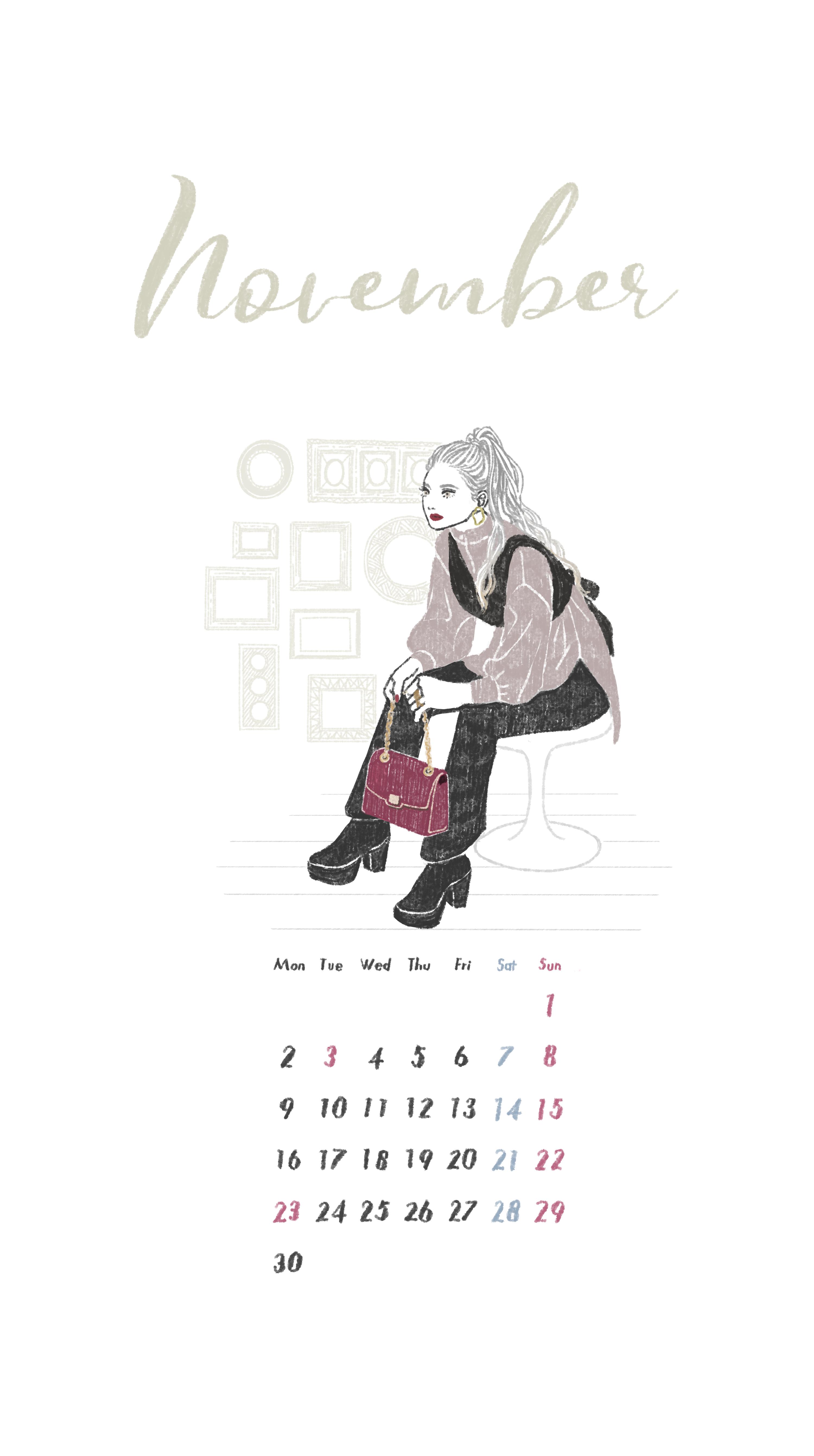 2020年11月カレンダーイラスト