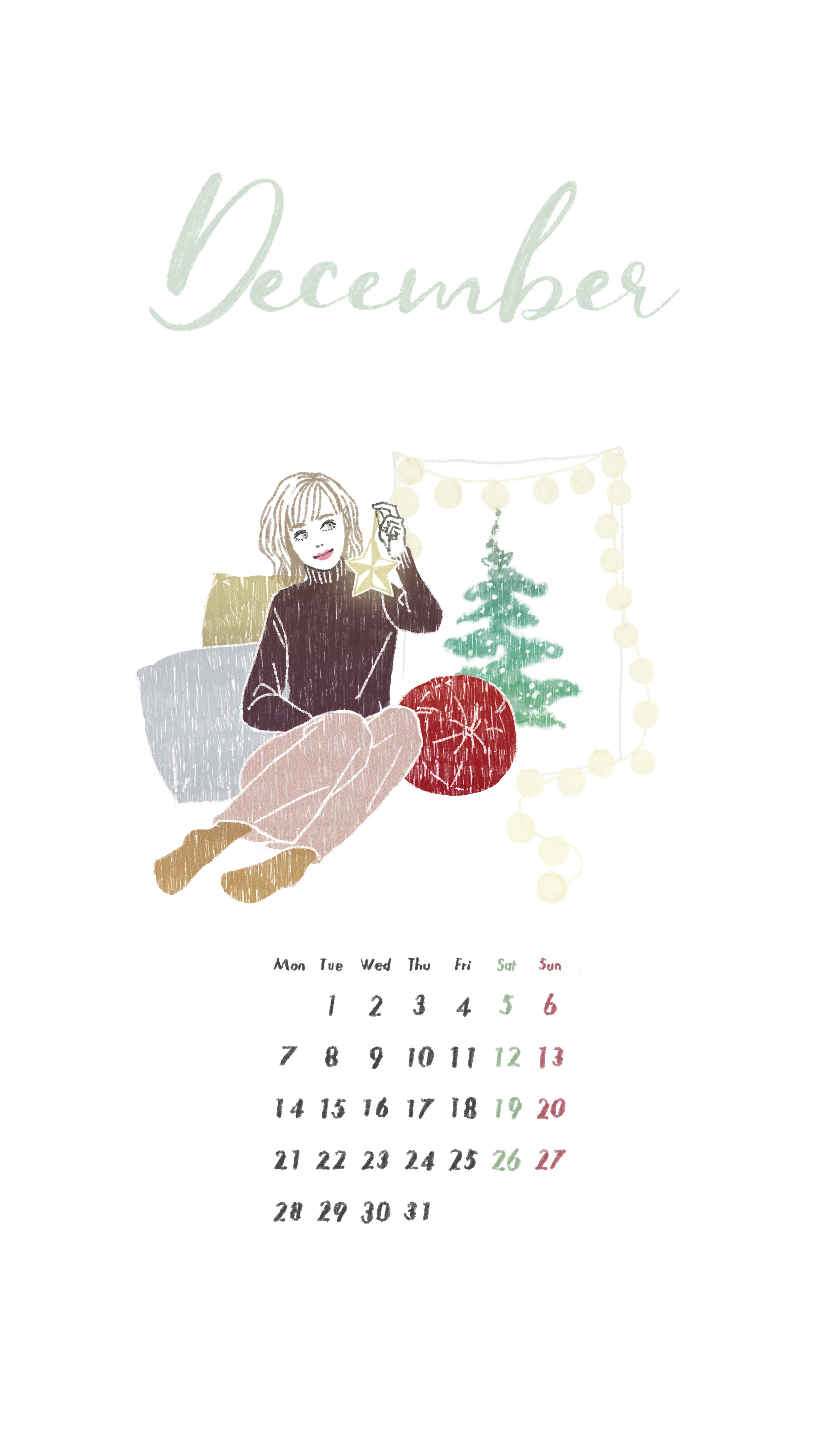 2020年12月カレンダーイラスト